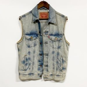 Levi's | Denim Distressed Button-up Vest M